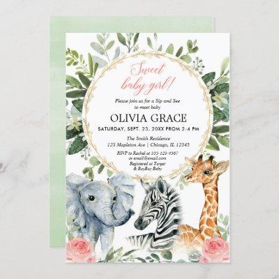 Safari Sip and See, Meet baby girl jungle theme Invitation