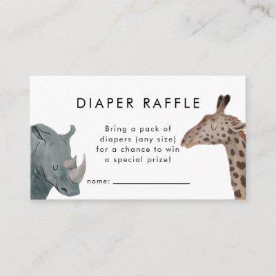 Safari Theme Baby Shower Diaper Raffle Ticket Enclosure Card