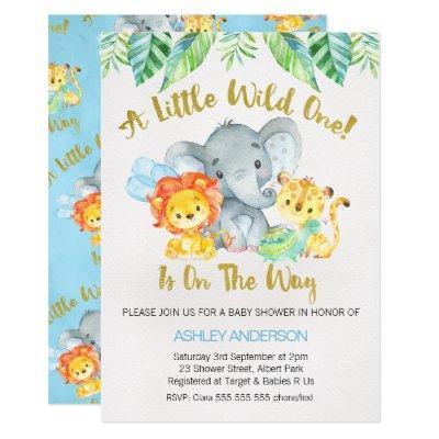 Safari Wild One Watercolor Baby Shower Invitation