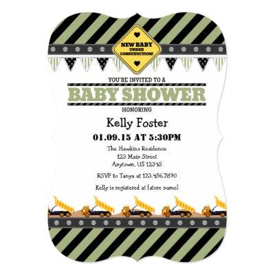 Sage Olive Construction Baby Shower Invitations