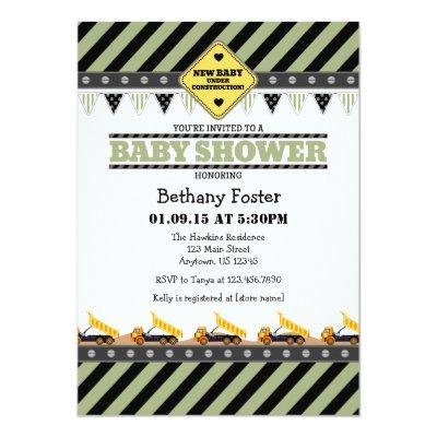 Sage Olive Construction Baby Shower Invitation