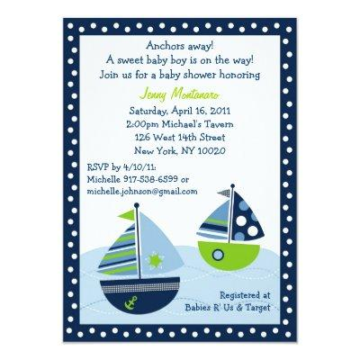 Sail Away Sailboat Baby Shower Invitations
