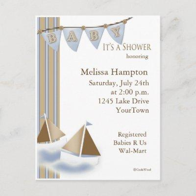 Sail Boat Baby Shower Postcard Invitations