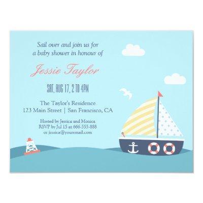 Sail boat Nautical Theme Baby Shower Invitations