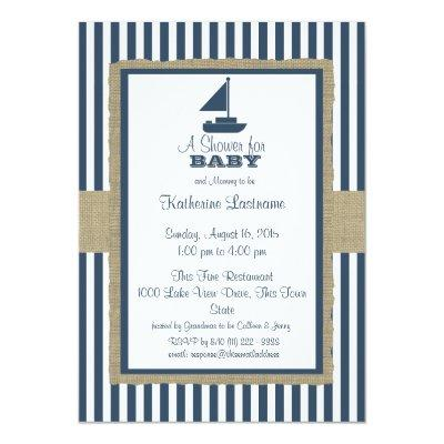 Sail Boat Navy Blue Stripes Baby Shower Invitations