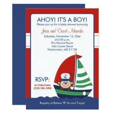 Sailboat Monkey Invitations 4.5 x 6.25