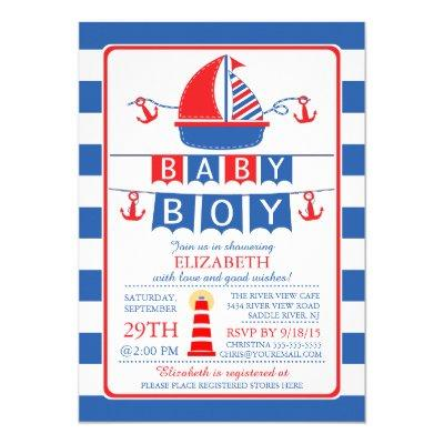 Sailboat Nautical Boy Baby Shower Invitation