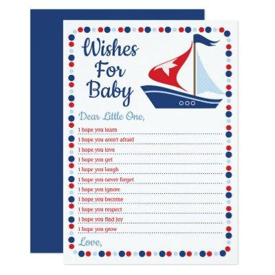 Sailboat Nautical Wishes For Baby Shower Game Invitation