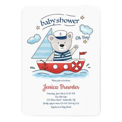 Sailing Teddy Bear Baby Shower Invitations