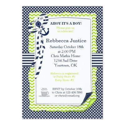 Sailor Baby Invitations in Lime Green & Navy