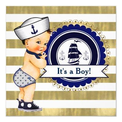 Sailor Boy Nautical Baby Shower Invitation