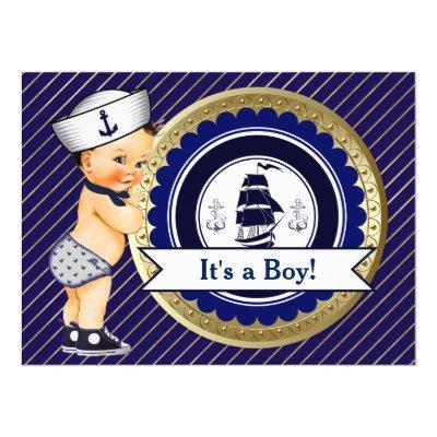 Sailor Boy Navy Nautical Baby Shower Invitation