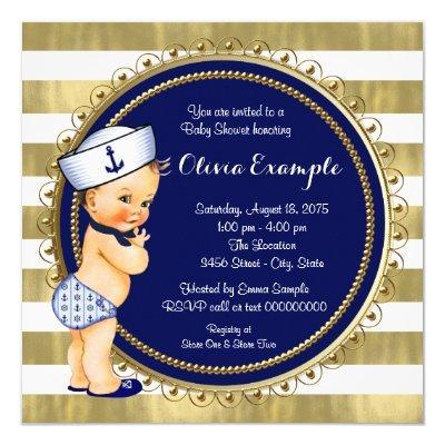 Sailor Boys Nautical Baby Shower Invitations