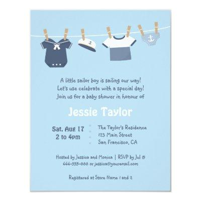Sailor Clothes Nautical Baby Shower Invitations