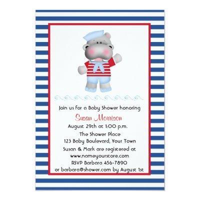 Sailor Hippo, Boy Baby Shower Invitation
