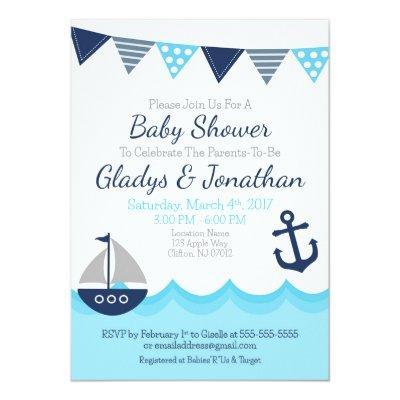 Sailor Theme Baby Shower Invitation