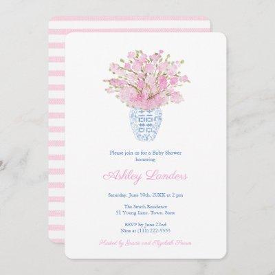 Sakura Blue White Chinese Vase Girl Baby Shower Invitation