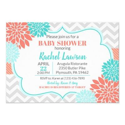 Salmon & Turquoise Blooms Floral Baby Shower Invitation