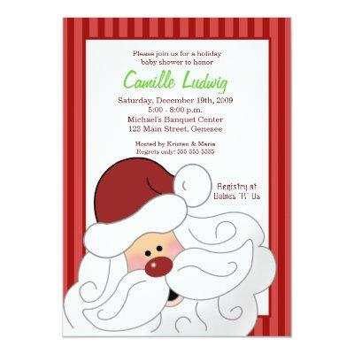 SANTA CLAUS Baby Shower Christmas Invitations