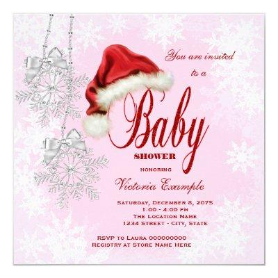 Santa Hat and Pink Snowflake Christmas Invitations