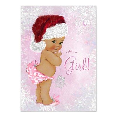 Santa Hat Baby Girl Winter Wonderland Invitations