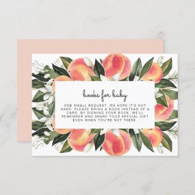 Savannah - Watercolor Peach Books for Baby Insert Invitation