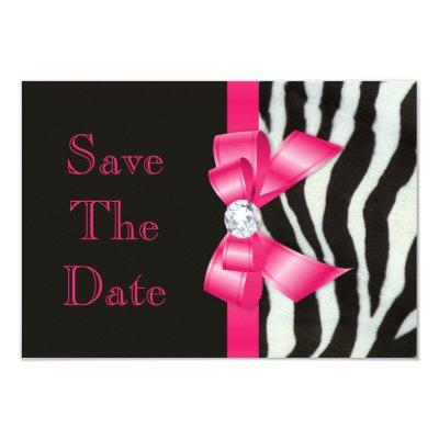 Save The Date Zebra Hot Pink Bow Invitations
