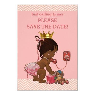 Save The Date Cute Ethnic Princess on Phone Invitations