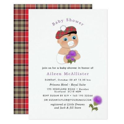 Scottish Tartan |Thistle Flower Cute Baby Shower Invitations