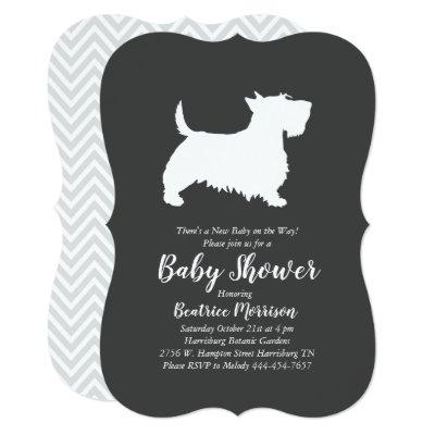 Scottish Terrier Dog Baby Shower Gender Neutral Invitation