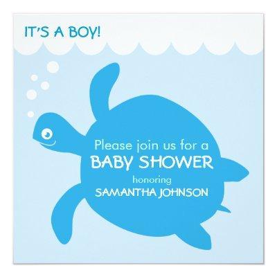 Sea Turtle Baby Boy Simple Shower Invitations