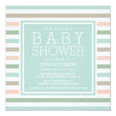 Seaside Pastel Stripe Baby Shower Invitation