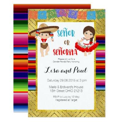 Señor Or Señorita Gender reveal Invitations Fiesta