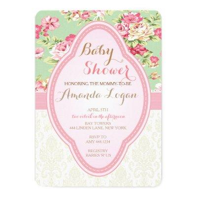 Shabby Chic Baby Shower Tea Party Invitations