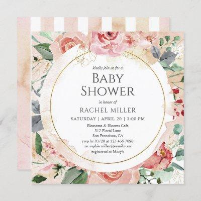 Shabby Chic Baby Shower Watercolor Floral Invitation
