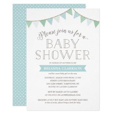 Shabby Chic Banners Blue | Invitations