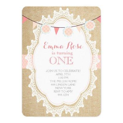 Shabby Chic Burlap Pink Birthday Invitations