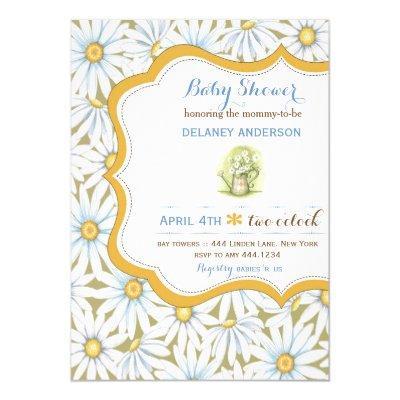 Shabby Chic Daisy Floral Invitations