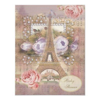 Shabby Chic Eiffel Tower Floral Baby Shower Invitations