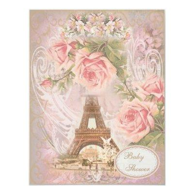 Shabby Chic Eiffel Tower Pink Floral Invitations