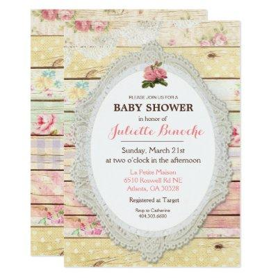 Shabby Chic Floral Wood Baby Shower Invitation