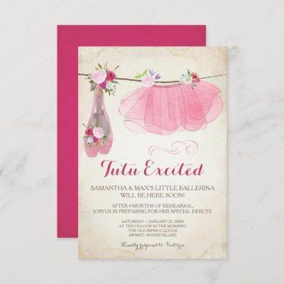 Shabby Chic Girl Ballerina Baby Shower Invitation