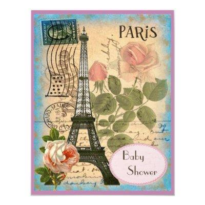 Shabby Chic Paris Eiffel Tower & Roses Invitations