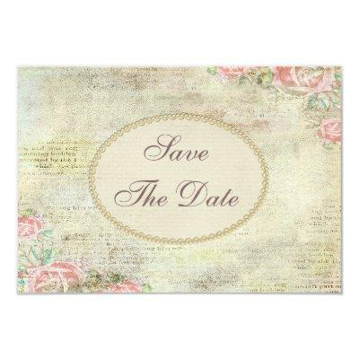 Shabby Chic Roses Baby Shower Save the Date Invitations