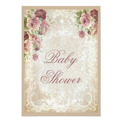 Shabby Chic Roses Pearls and Lace Baby Shower Invitation