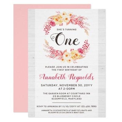 Shabby Chic Rustic One First Birthday Invitation