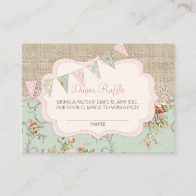 Shabby Rustic Country Chic Diaper Raffle Ticket Enclosure Card