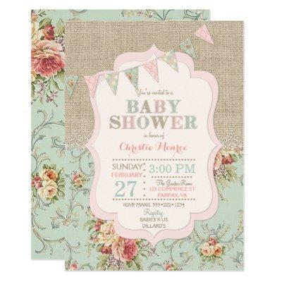 Shabby Rustic Country Chic Floral Lace Burlap Invitations