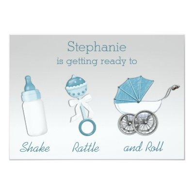 Shake Rattle and Roll Silver Blue Baby Shower Invitation