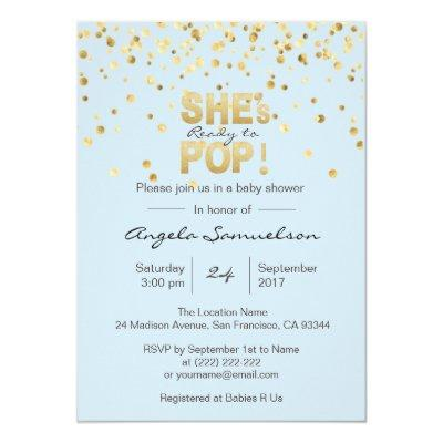 She's Ready to POP Blue Gold Boy Baby Shower Invitations